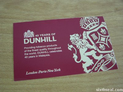 dunhill 40 card front