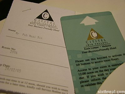 cititel kl room card