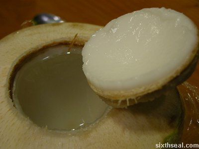 top off coconut opened