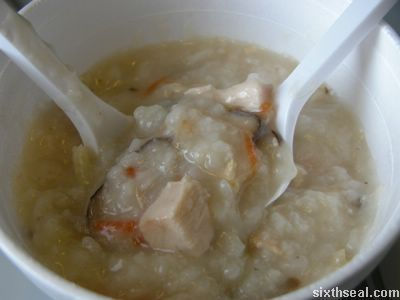 porridge chicken pieces