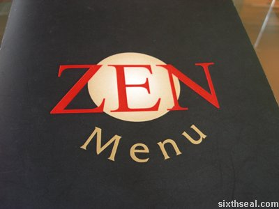 zen travillion menu