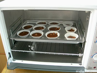 cadbury buttons muffins in oven