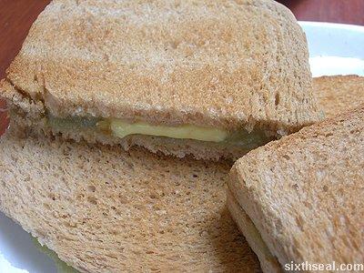 kaya toast buttering