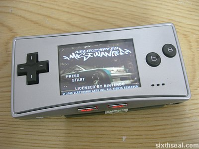 game boy micro nfs most wanted game splash