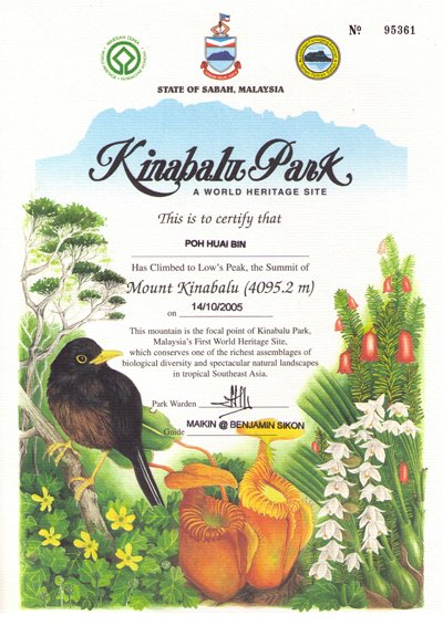 mt kinabalu certificate