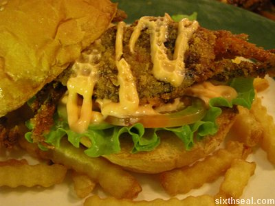 nude crab burger inside