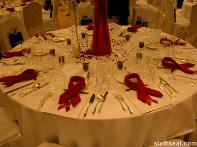 red ribbon table