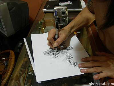 steph celtic cross tattoo tracing