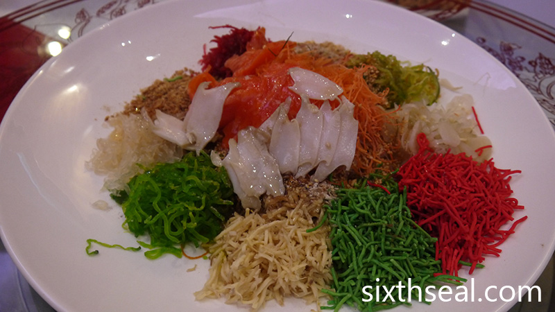 Prosperity Yee Sang with Tasmania Ocean Trout with Truffle Sydney Green Lips Abalone