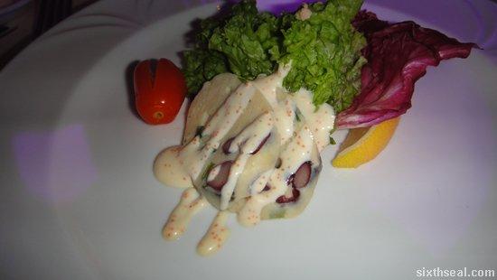 Mediterranean Seafood Terrine with Wasabi Tobiko Dressing