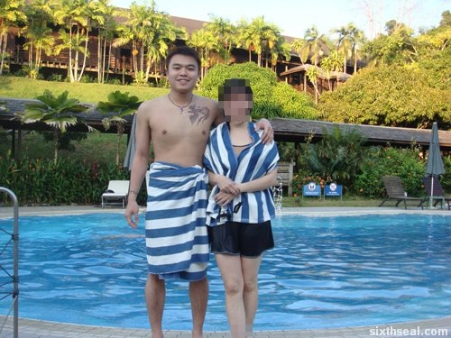 me sandra beside pool