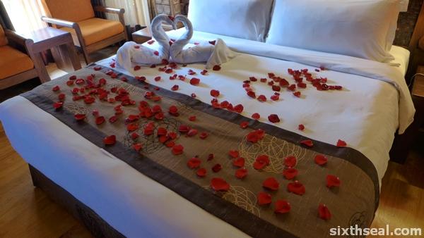 rose petals bed