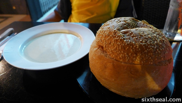 bread in soup bowl
