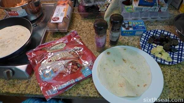 pan heating tortillas