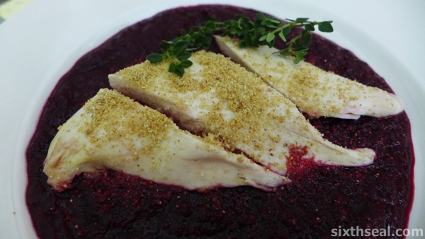 poached chicken beetroot puree