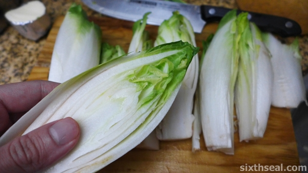 sliced belgium endives