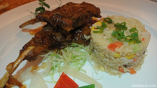 Australian Lamb Cutlets in 3 Chilli Sauce with Jasmine Fried Rice