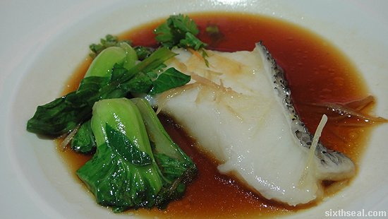 Cantonese Style Steamed Cod Fish with Superior Soya Sauce and Baby Cabbage
