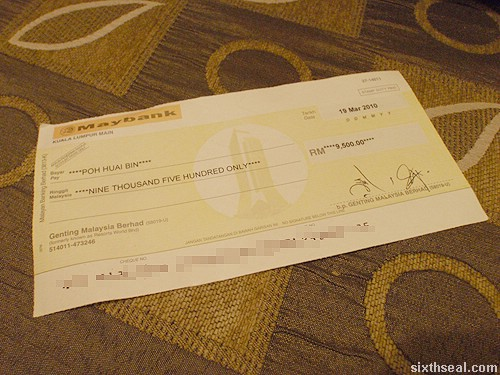 genting cheque