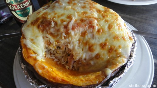 Pumpkin Cheese Baked Rice with Pork