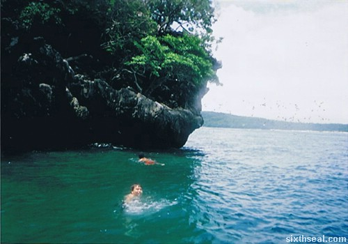 cliff diving swimming