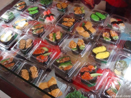 mall sushi display
