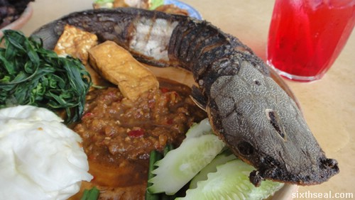 nasi lalapan catfish head