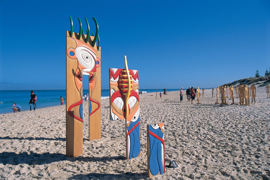 Sculptures by the beach