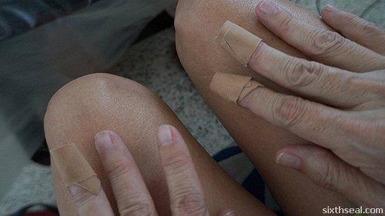 bandaged fingertips